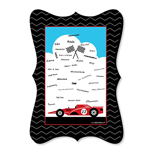 Big Dot of Happiness Let's Go Racing - Racecar - Unique Alternative Guest Book - Race Car Birthday Party or Baby Shower Signature (Wisconsin Lets Go Light)