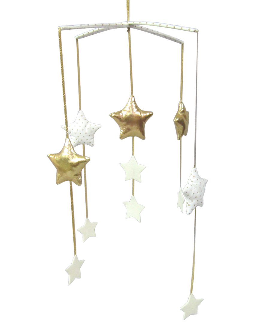 Alimrose Falling Star Mobile, Gold and Ivory   B0771HGZHN