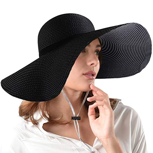 FURTALK Women Wide Brim Sun Hat Summer Beach Cap UPF50 UV Packable Straw Hat for Travel (Large Size (22.8''-23''), WideBrim Black) -