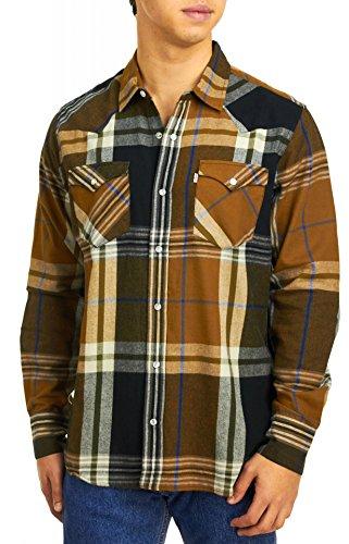 Levi's Men's Brit Long Sleeve Snap Flannel Shirt, Brown/Gold,
