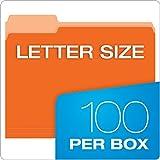 Pendaflex Two-Tone Color File Folders, Letter Size, Orange, 1/3 Cut, 100 per box