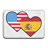 American Spain Heart Flag-1 Non Slip Outings Rug Kitchen Rug