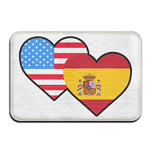 American Spain Heart Flag-1 Non Slip Outings Rug Kitchen Rug by Mat_Rug&