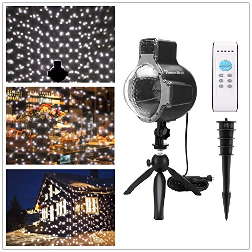 Christmas LED Snowfall Light DDSKY Waterproof Rotating White Snow Projector Light Fairy Snowflake Projector Lamp Outdoor Remote/Manual Control with Tripod Spike for Home Yard Garden Xmas Landscape by DDSKY