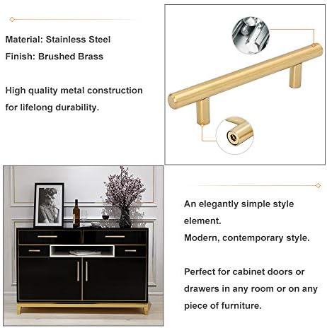 "Goldenwarm 25pcs Brushed Brass Kitchen Cabinet Hardware Handle 1/2"" Diameter T Bar Handles Furniture Gold Door Drawer Pulls Knobs Hole Spacing 76mm 3in"