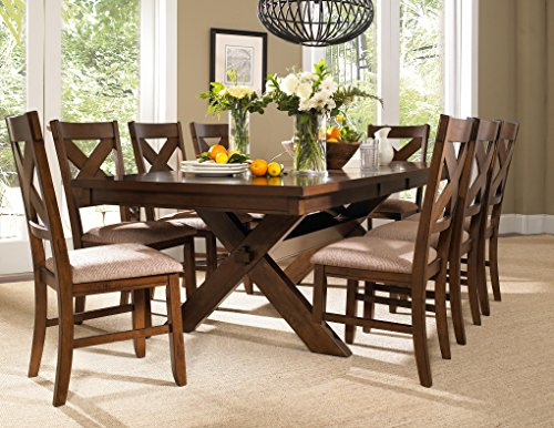 Powell 713-417M3 9 Piece Wooden Dining Set (Powell Upholstered Chair)