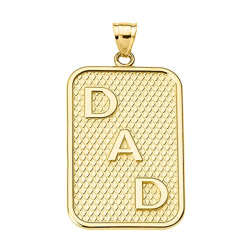 Men's Fine Jewelry 10k Yellow Gold DAD Dog-Tag Engravable Pendant Necklace