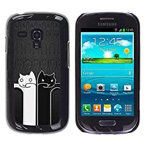 Vortex Accessory Carcasa Funda PARA SAMSUNG GALAXY S3 MINI i8190 ( NOT FOR S3 ) For - Black And White Cat Grey Minimalist Cute