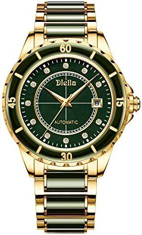 Diella Men's Luxury Automatic Mechanical Wrist Watches with Jade & Swarovski Rhinestones Sapphire Glass Mirror 5ATM Waterproof, Self Winding Japanese Movement (Model:AD6020)