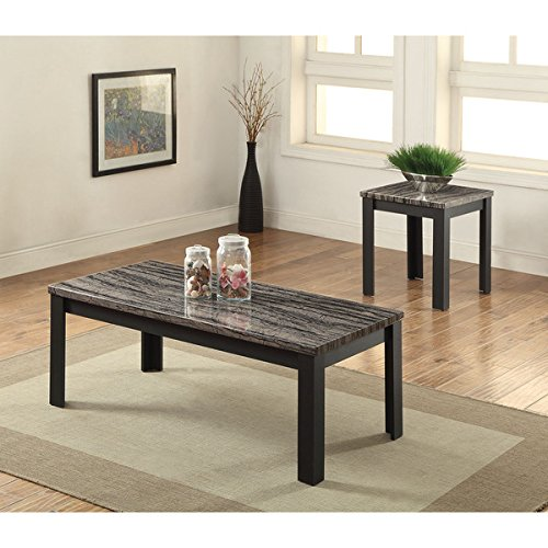 Coffee Table and End Table Black Faux Marble 2-piece Living Room Table Set (82134) - 48''L x 24''W x 18''H. Assembly Required