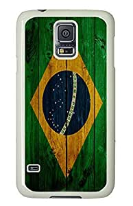 Samsung S5 poetic case Wood Brazil Flag PC White Custom Samsung Galaxy S5 Case Cover