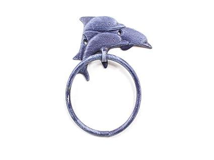 Soporte para Toallas Hecho a Mano con Diseño de Delfines de Hierro Fundido, Color Azul