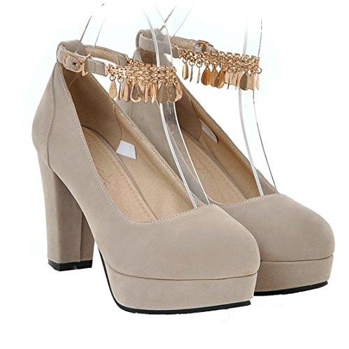 Mee Shoes Damen süß chunky heels T Strap runde Mary Jane