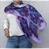 Artistic Hand Painted and Printed Summer Silk Scarf Lilac Violet Pink Purple Flowers Boho Lightweight Shawl Long Any Weather Head Wrap Mother Women Gift