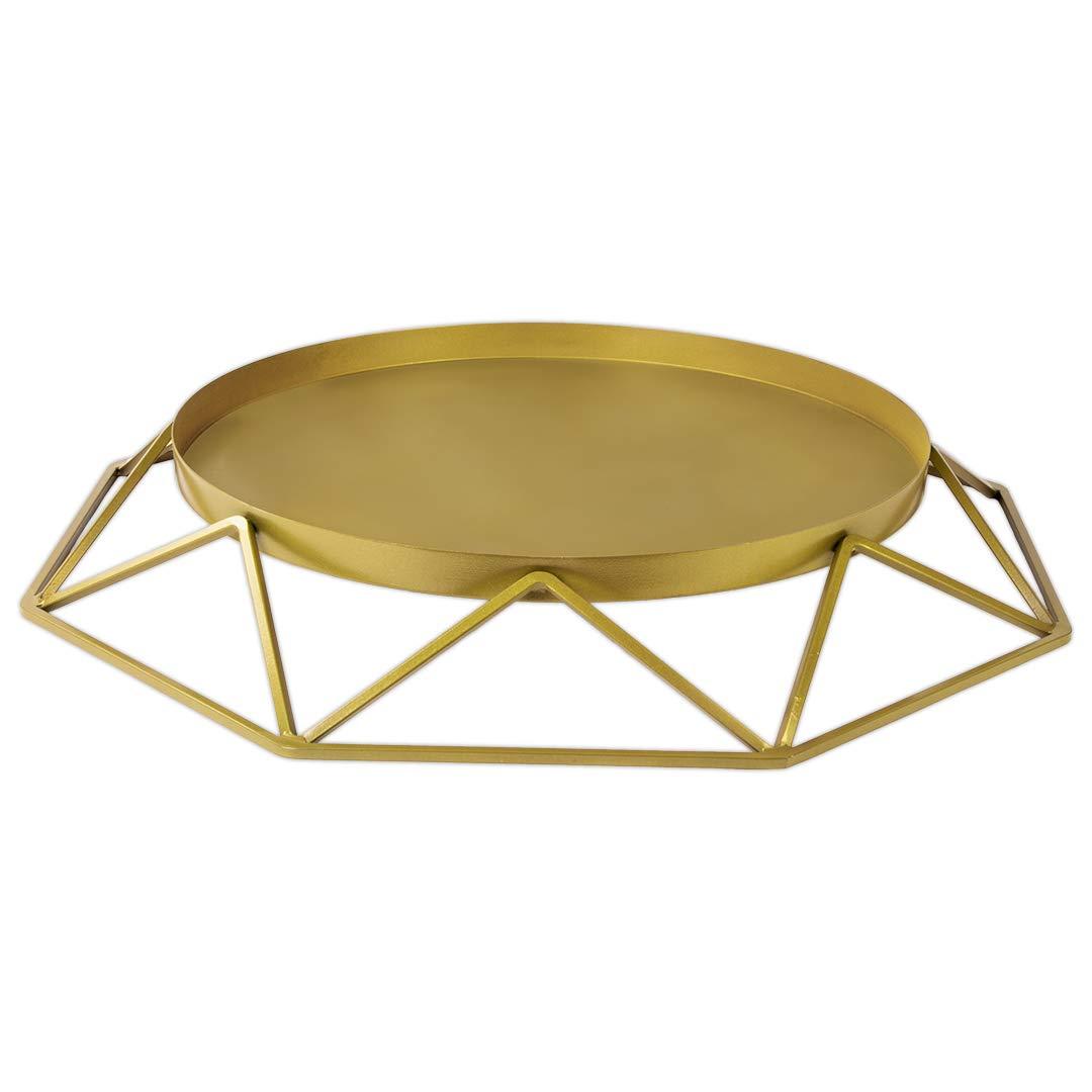 Koyal Wholesale Gold Geometric Metal Round Cake Stand, 15.75 Inch Round Modern Geo Large Tier Cake Stand