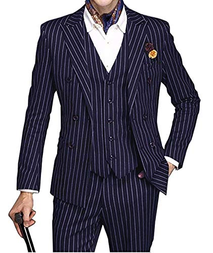 Vincent Bridal Men's Slim Fit 3 Piece Suit Double Breasted Blazer Formal Striped Suits(38 Regular,Royal Blue)