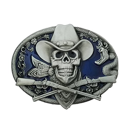 QUKE Western Cowboy Ghost Skeleton Skull with Rifles Guns Belt Buckle Blue Enamel