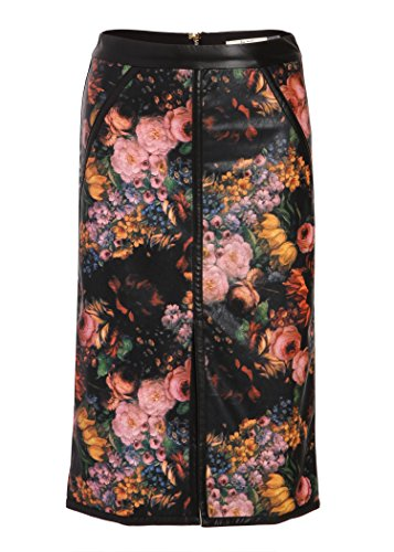Pretty Attitude Women's Floral PU Leather Pencil Skirt - Size Large