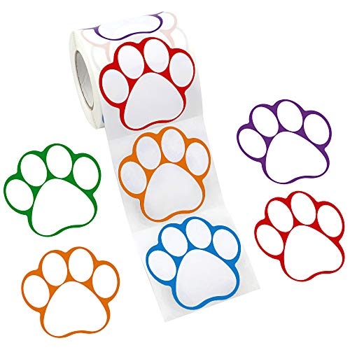 JPSOR 300ct Paw Print Name Tags Name Label Stickers Perforated Line Design for School Office Home, 2.75