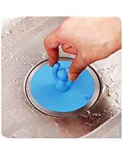 FitHom Silicone Drain Stopper Floor Drain Cover,for Bathtub,Sink,Kitchens,Laundries,Sewer Cover with the Shape of Cute Little Person,Can be Lifted Up for Preventing Odor(Blue)