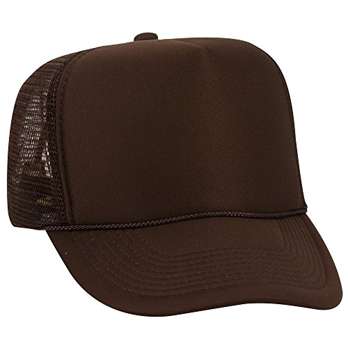 Mesh Panel Back 5 - OTTO Polyester Foam Front 5 Panel High Crown Mesh Back Trucker Hat - Brown