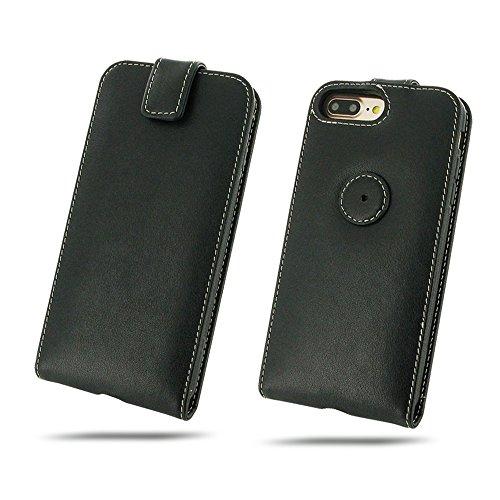 Apple iPhone 8 Plus Case, Leather Case, Genuine Handmade Leather Case, Wallet Case, Protective Case, Phone Case - Flip Top Wallet Case (Black) by Pdair