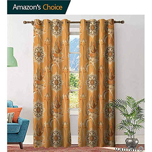 (Big datastore Sliding Door Curtain,Tan and BrownOrnamental Ottoman Garden Pattern with Tulips and Blossoming Flowers,for Guestroom/Living Room,Orange Tan Brown,W108 xL96)