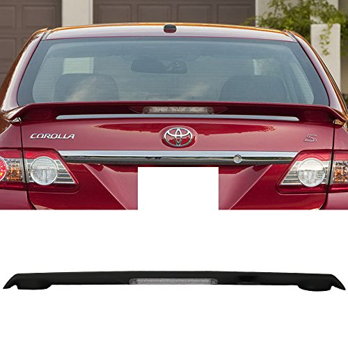 Trunk Spoiler Fits 2009-2013 Toyota Corolla | Factory Style ABS Unpainted Black With LED Brake Lamp Trunk Boot Lip Spoiler Wing Deck Lid By IKON MOTORSPORTS | 2010 2011 2012