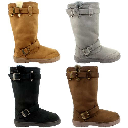 Sole Buckle Brown Fur Womens Snow Thick Lined Boots tftFc7q