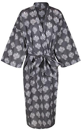 - Women's Kimono Cotton Robe Bathrobe Long Dressing Gown Bridesmaid 100% Organic Lightweight Cotton: Gray Yukata