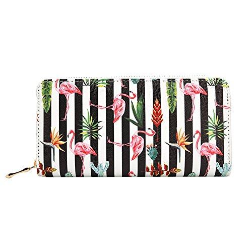 Flamingo Purse (Kukoo Women Leather Long Zipper Wallet Flamingo Print Clutch Purse Credit Card Holder)