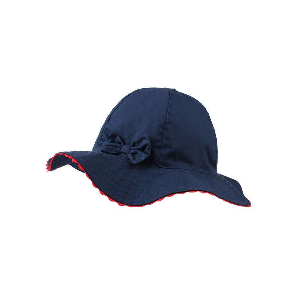 JANGANNSA Baby Girls Sun Hat Infant Uv Protective Cap Kids Wide Wavy Brim Bucket Hat Spring Summer (Navy)