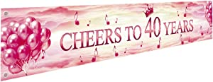 Ushinemi 40th Happy Birthday Banner, 40 Anniversary Decorations, Cheers to 40 Years Party Decor Backdrop Banner Sign, Large, Rose and Gold, 9.8x1.6 Feet