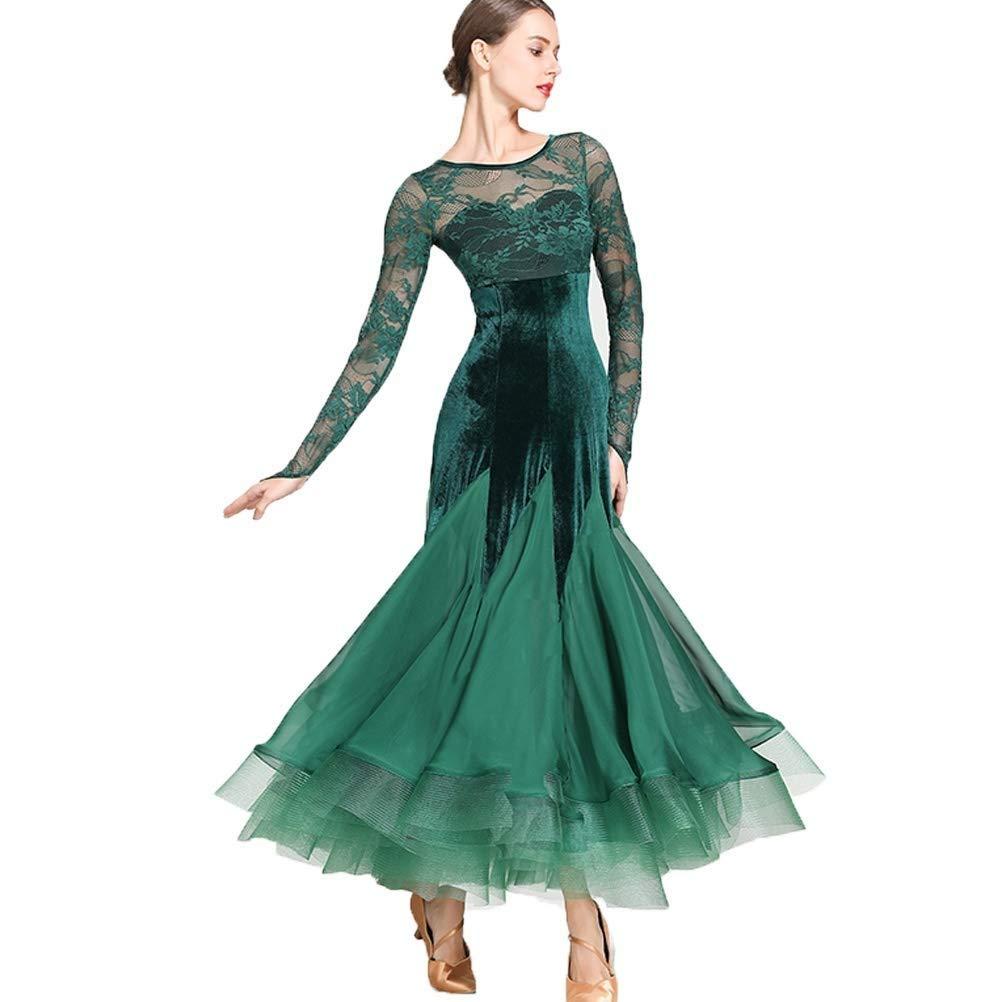 【再入荷】 女性のための国家の標準的なウエディングドレス競技衣装ベルベットレースステッチソーシャルドレスタンゴモダン社交チュールスカート B07QM72QXN グリーン M|グリーン M グリーン M|グリーン M, 【クーポン対象外】:f462dd21 --- a0267596.xsph.ru