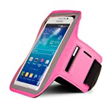 SumacLife Workout Smartphone Armband with Key Slot (XXL Size) Interior Dimensions: 6.8 x 3.8 Inches - Retail Packaging - PInk