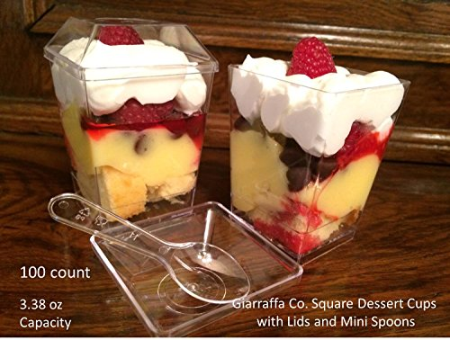 Giarraffa Co. Square Dessert Cups with Lids and Mini Tasting Spoons Included 100 Count 3.38 Oz.use for Dessert Parfaits,cake Shooters and Take Out Dessert Containers.