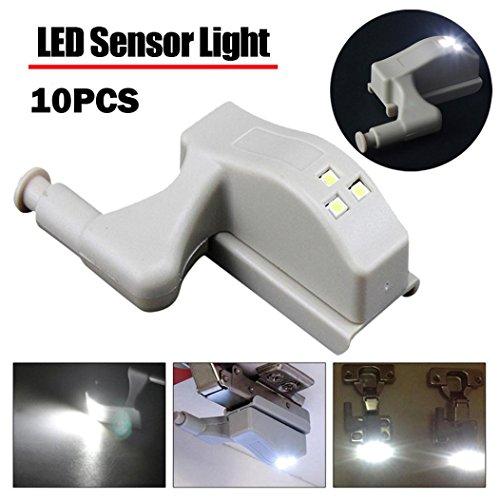 Kanzd 10X LED Smart Sensor Light Kitchen Cabinet cupboard Closet Wardrobe hinge Lights (White)