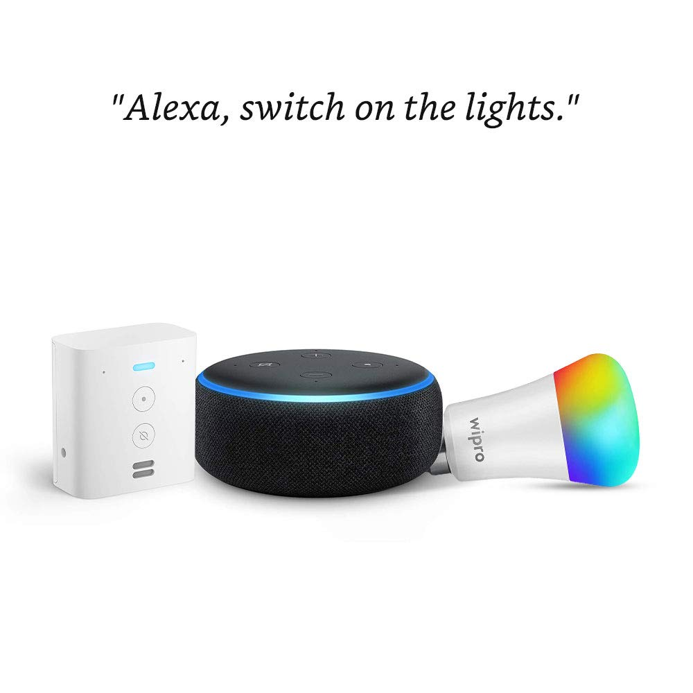 Echo Dot (Black) bundle with Echo Flex and Wipro 9W smart bulb