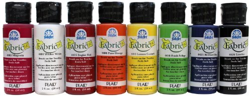 FolkArt Brush on Fabric Paint Beginner Set (2-Ounce), FAB8SET (Dry Paint Stencil Brush)