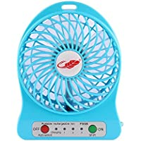 AceAbove Mini Portable Wireless Rechargeable Super Strong Wind Desk Fan W/ Rechargeable Battery - 3 Mode Wind Speed Adjustable (Blue)