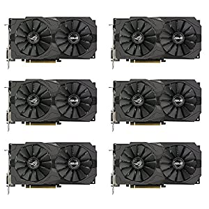 6 Packs of ASUS ROG Strix Radeon RX 570 O4G Gaming OC Edition GDDR5 DP HDMI DVI VR Ready AMD Graphics Card (ROG-STRIX-RX570-O4G-GAMING)