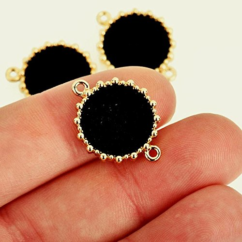 Lot of 5 Gold TONEFaux Suede Charms Circle Disc Charms with Black Faux Leather 16mm chs4042 DIY for Necklace Bracelet and Crafting by CharmingSS