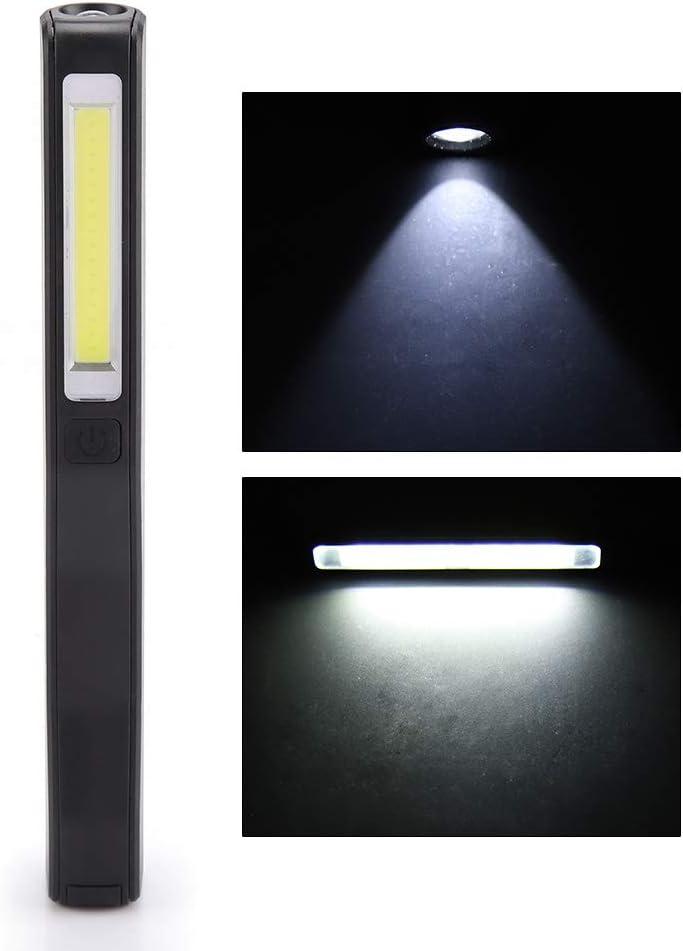 recargable luz de la antorcha 200lm port/átil inspecci/ón con im/án para la bater/ía incorporada para acampar negro linterna de alto brillo Antorcha LED COB USB