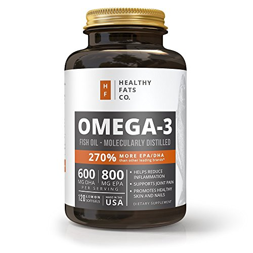 Fish Oil Omega 3 Capsules: Best Triple Strength Supplements with EPA & DHA Oils – Pure Healthy & Burpless Fish Oil Supplements with Natural Fatty Acids – 120 Count 1400 Miligram Softgel Pills
