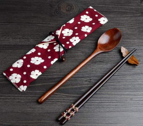 Exquisite and Environmental Wood Spoon Chopsticks Cutlery Set with Cloth Carry Bag ()
