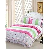BENBU Modern bedding Punctuate Fashion, Full Cotton Reactive Printing Stripe Fashion Point Bedding Set 4PC, FULL Size