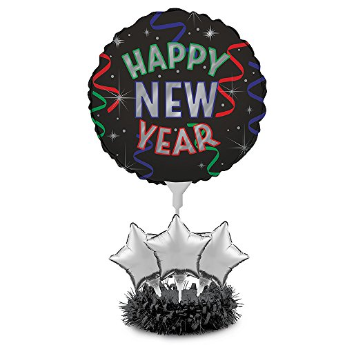 Happy New Year Centerpiece (Creative Converting Air Filled Balloon Centerpiece Kit, New Year)