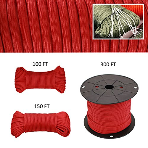 Geelife 640lb Parachute Cord Survival Utility 9 Strands Core 4mm Commercial Grade Paracord (Red, 100 ft) by Geelife