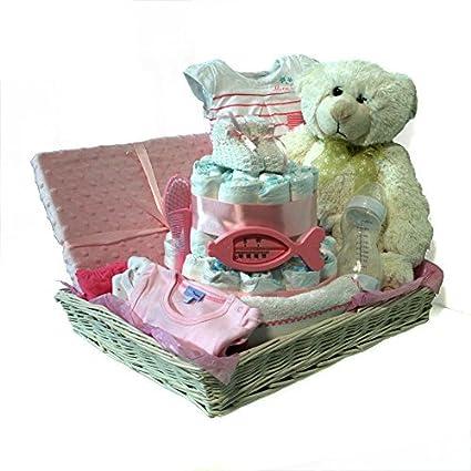 Cesta con tarta de pañales niña Dodot - Cesta Combi rosa - Mil Cestas