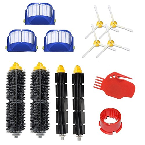 Replacement Doo - Eagglew Accessories for iRobot Roomba 600 650 Series Replacement Part Kits - 2 Bristle Brush & Flexible Beater Brush, 3 Filter, 4 3-Arm Side Brush, 1 Kit of Cleaning Tool